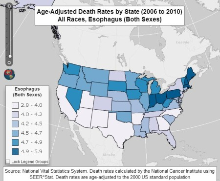 Age-adjusted incidence rates by State, All Races, Both Sexes for Esophageal Cancer.